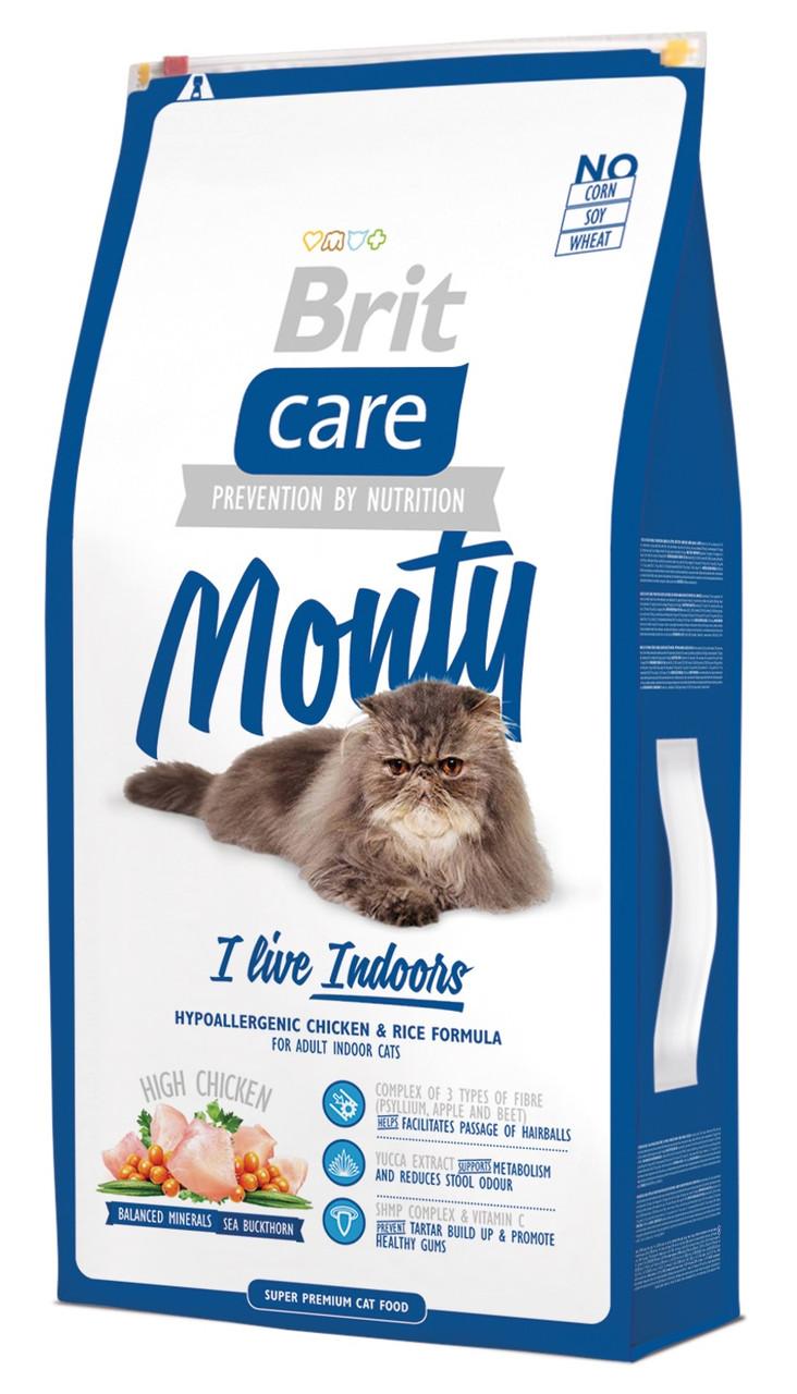 Сухий корм для домашніх кішок Brit Care Monty i'm Living Indoor з куркою 7 кг