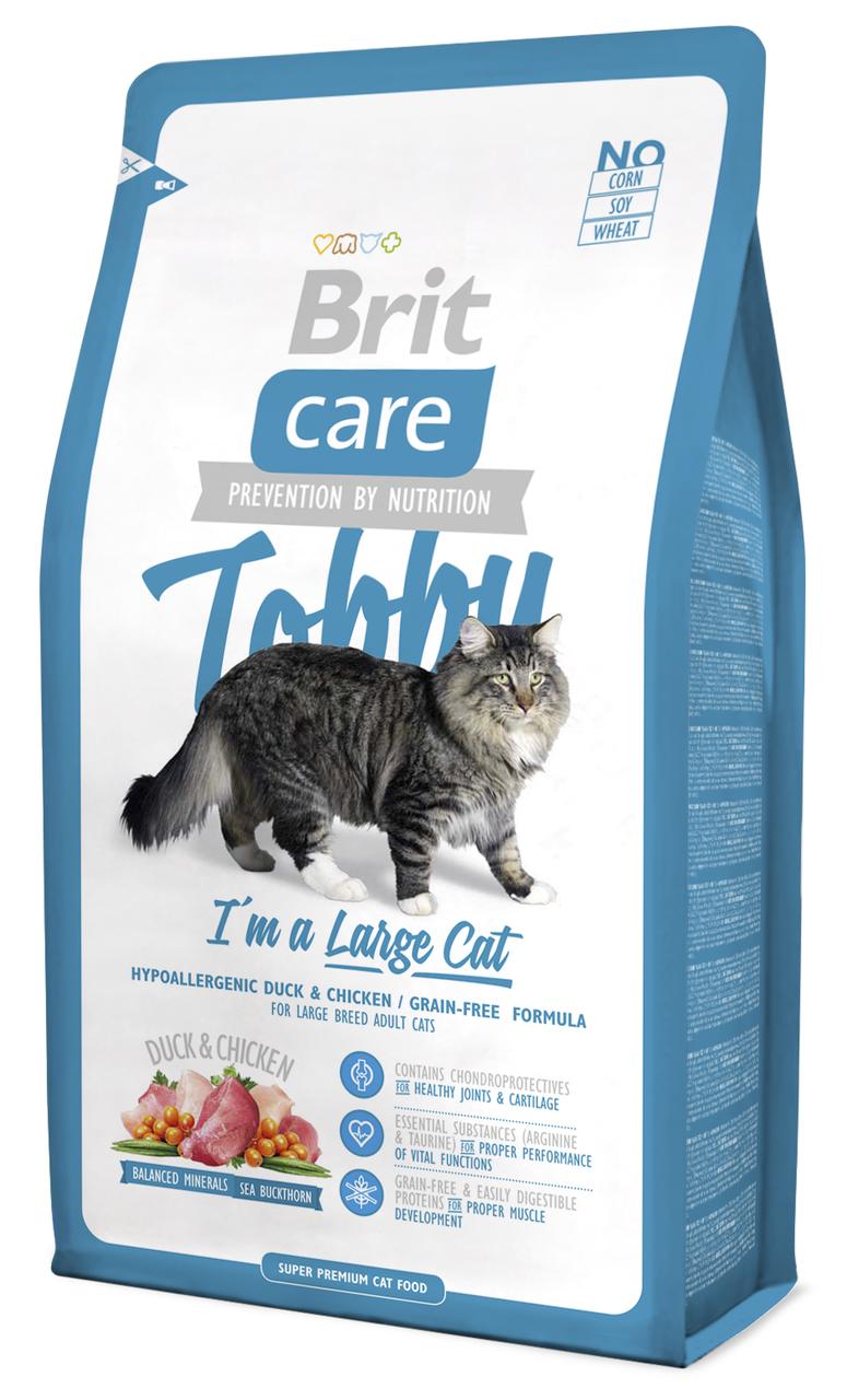 Сухий корм для кішок Brit Care Tobby i'm a Large Cat з качкою і куркою 2 кг
