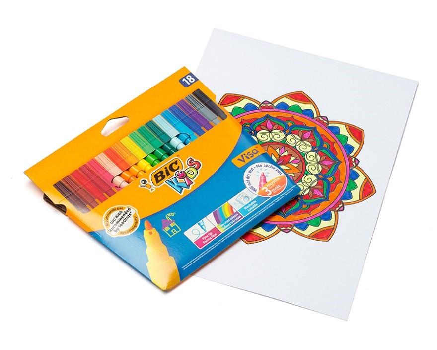 Фломастеры BIC Kids Visa 18 цветов 18 шт.
