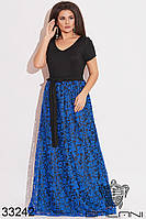 Романтичное женское платье в пол с гипюровой юбкой и V-образным вырезом с 50 по 56 размер