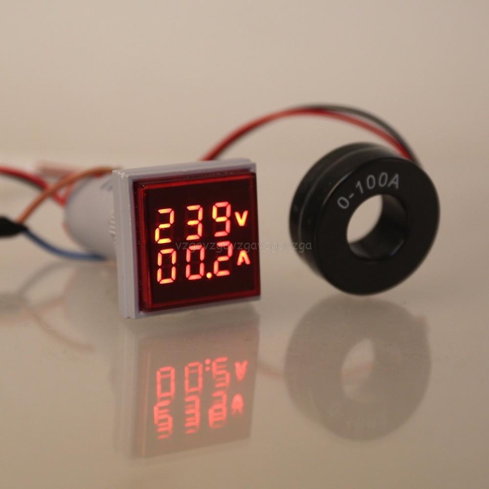 Вольтметр/амперметр AC 22мм 60-500В 0-100А - красный