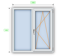 Окно шир 1320 мм х выс 1430 мм.