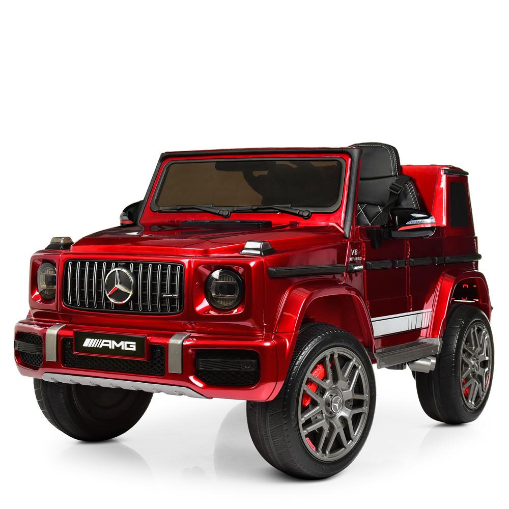 Дитячий електромобіль Джип 4180 EBLRS-3, Mercedes-Benz G63, колеса EVA, еко-шкіра, музика, світло, червоний лак