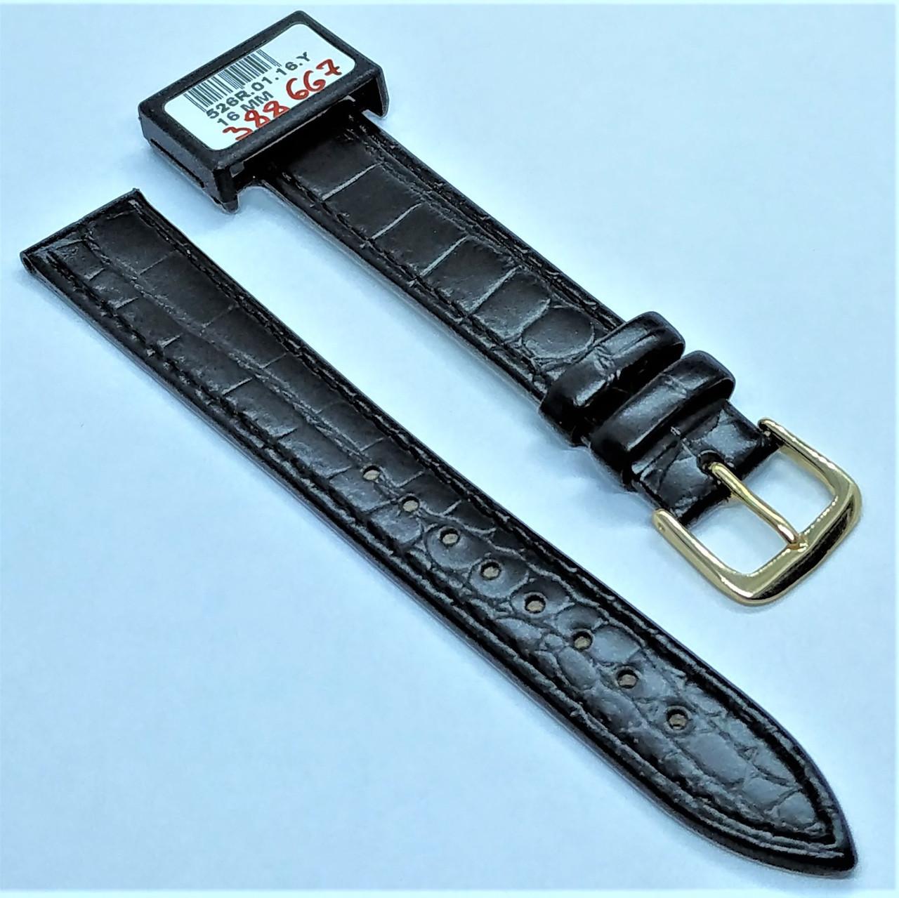 16 мм Кожаный Ремешок для часов CONDOR 526.16.01 Черный Ремешок на часы из Натуральной кожи