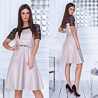 Платье / кожзам, гипюр / Украина 35-299, фото 1