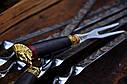 """Авторский набор шампуров ручной работы """"Индейцы чероки"""" 69см с ручкой из мореного дуба, фото 2"""