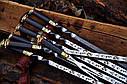 """Авторский набор шампуров ручной работы """"Индейцы чероки"""" 69см с ручкой из мореного дуба, фото 3"""