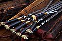 """Авторский набор шампуров ручной работы """"Индейцы чероки"""" 69см с ручкой из мореного дуба, фото 4"""