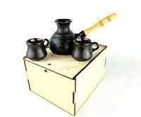 Подарочный кофейный набор Иероглиф 350 мл - турка и две чашечки в деревянном ящике