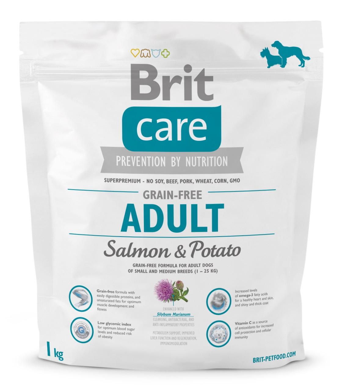 Сухий беззерновой корм для собак Brit Care Adult Salmon & Potato з лососем і картоплею 1 кг