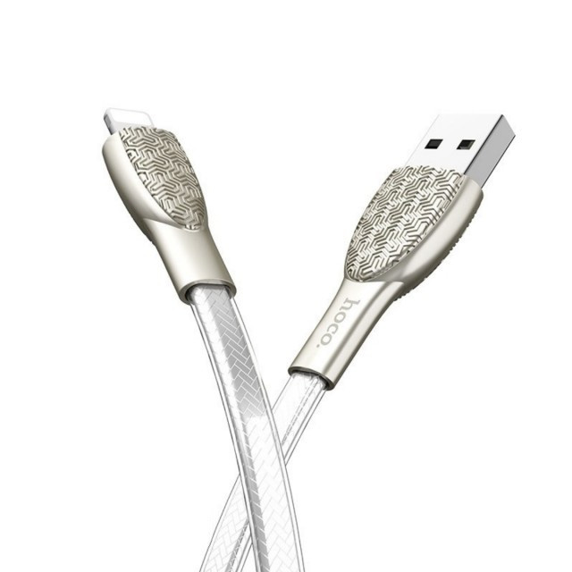 Кабель Hoco U52 Bright charging data cable for Lightning Silver