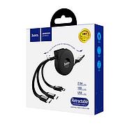 Кабель Hoco U50 3-in-1 retractable charging data cable Black, фото 2