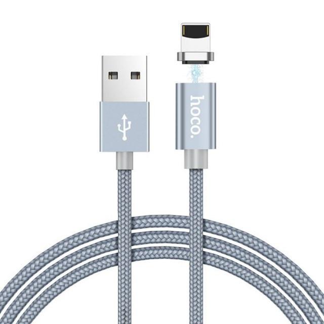 Кабель Hoco U40A magnetic adsorption Lightning charging cable Metal gray