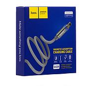 Кабель Hoco U40A magnetic adsorption Lightning charging cable Metal gray, фото 2