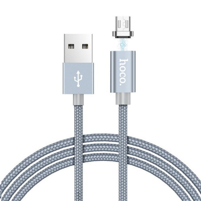 Кабель Hoco U40A magnetic adsorption Micro charging cable Metal gray