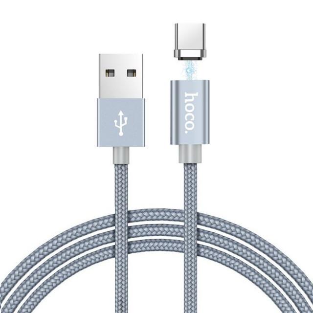 Кабель Hoco U40A magnetic adsorption Type-C charging cable Metal gray