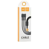 Кабель Hoco U31 Benay one pull three charging cable,Lightning+Micro+Type-c Black, фото 2
