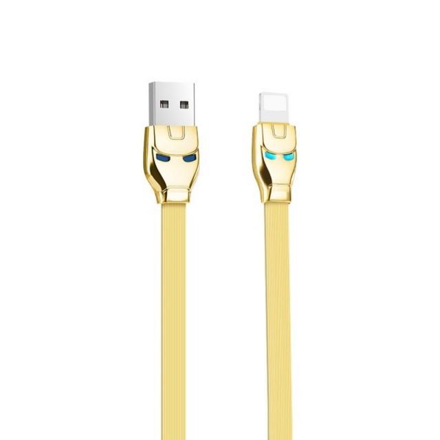 Кабель Hoco U14 Steel man Lightning charging cable Gold