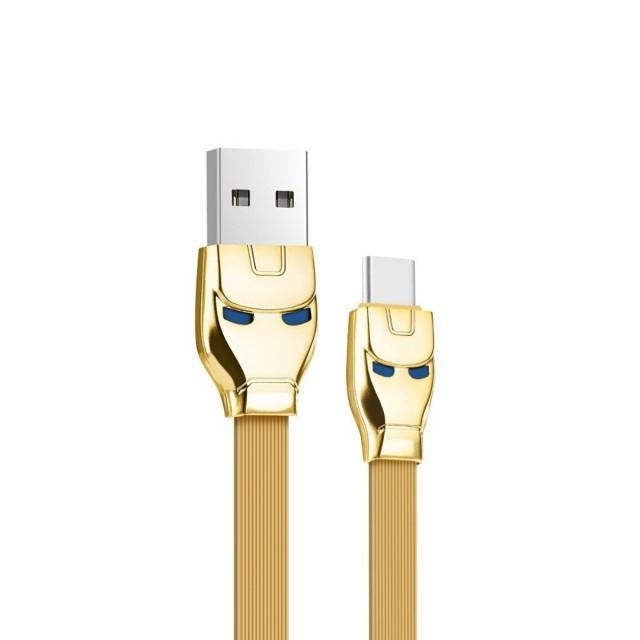 Кабель Hoco U14 Steel man Type-C charging cable Gold