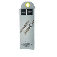 Кабель Hoco U11 Zinc Alloy Reflective Knitted Lightning Charging Cable(Intelligent power off)Silver, фото 2