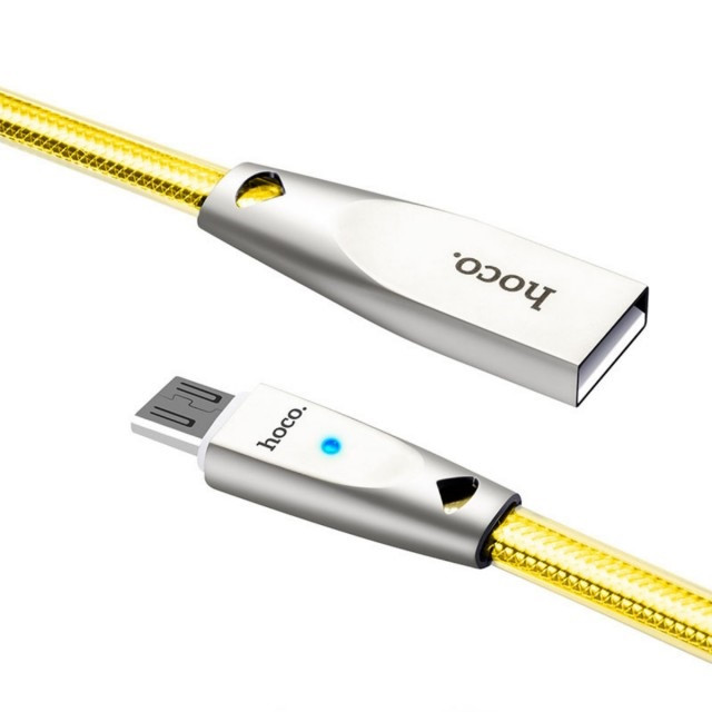 Кабель Hoco U9 Zinc Alloy Jelly Knitted Micro Charging Cable Gold