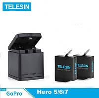 Зарядное устройство TELESIN для аккумуляторов Gopro Hero 5/6/7+ 2 Аккумулятора TELESIN 1220 мА, фото 1