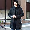 Мужская зимняя куртка чернаядлинная теплая