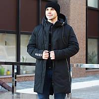 Мужская зимняя куртка чернаядлинная теплая, фото 1