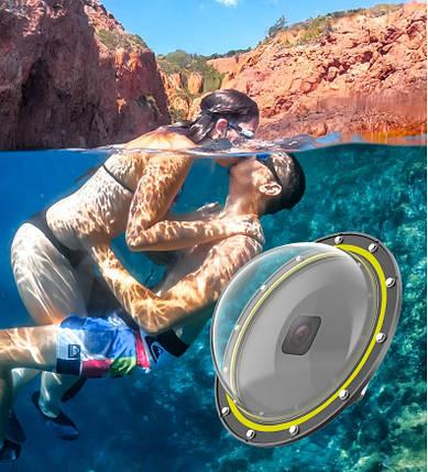 Купол поплавок для підводної зйомки для GOPRO 8 BLACK (DOME PORT) Telesin, фото 2