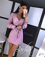 Женское короткое платье с люрексом на запахе