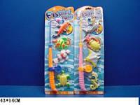 Рыбалка, 2 вида, удочка + 4 рыбки, на планш. 43х14х5 /288-2/