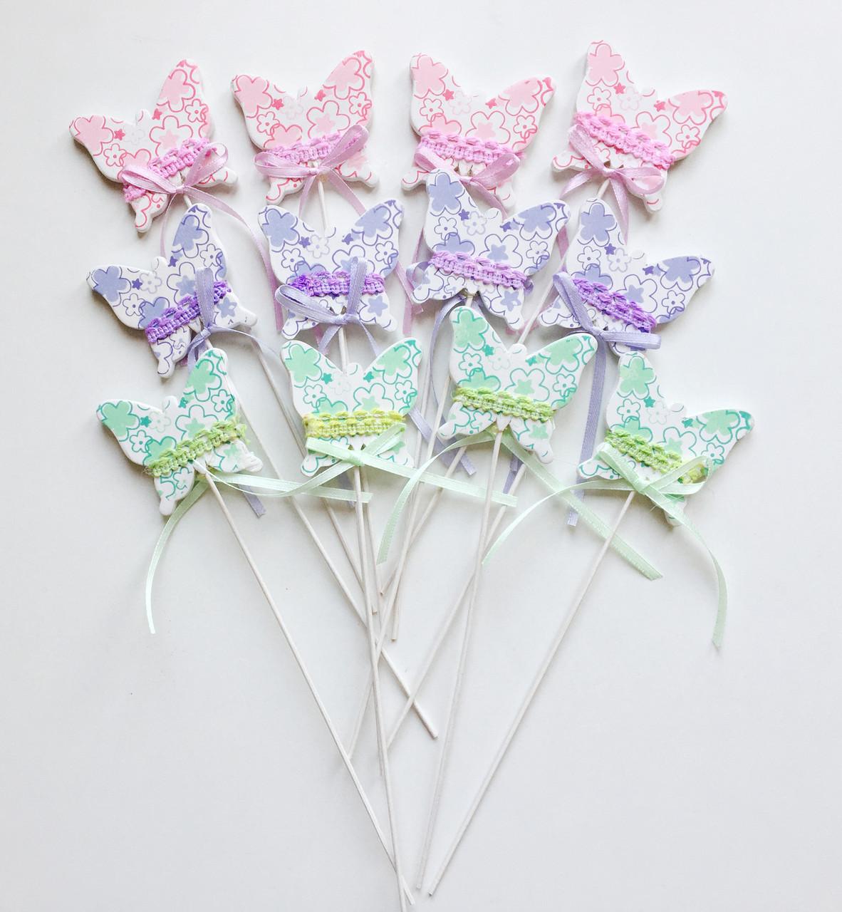 Бабочки стикеры (12 шт, 23 см) 1