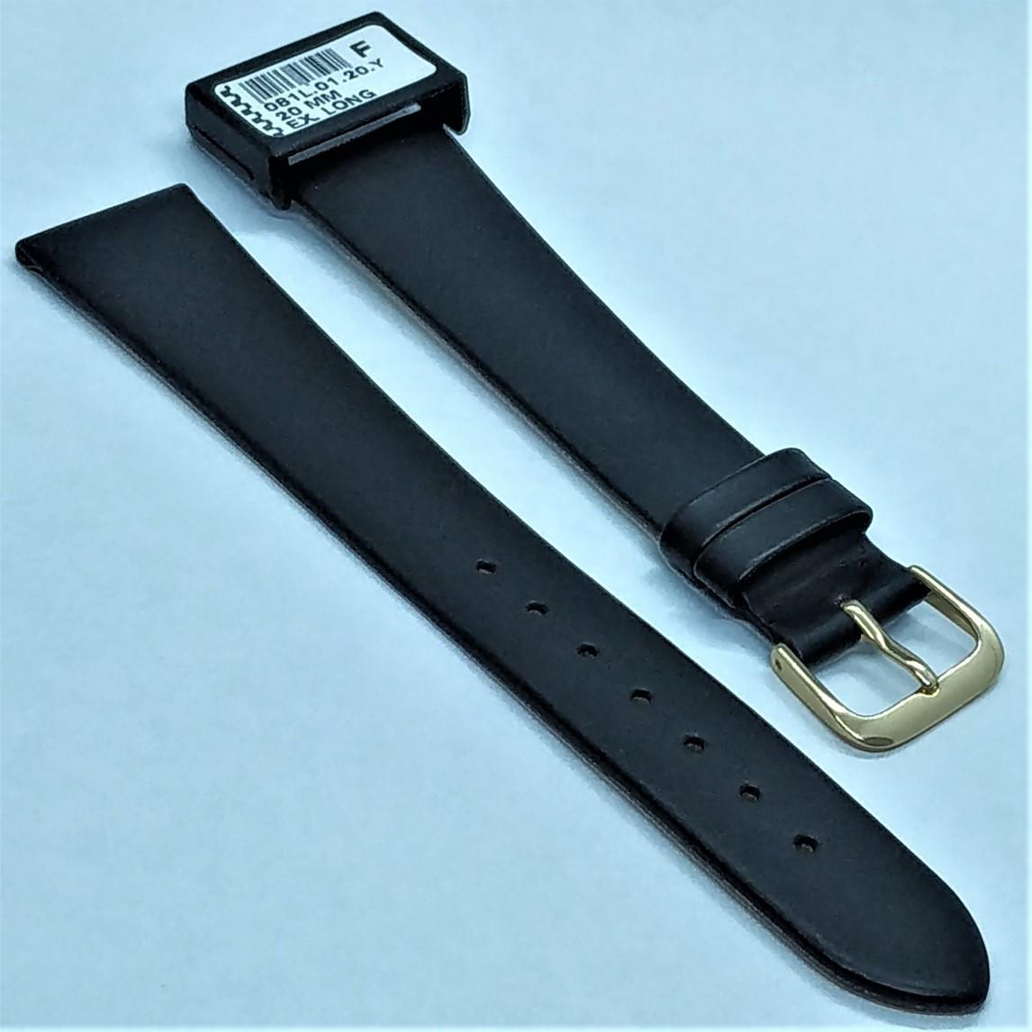 20 мм Кожаный Ремешок для часов CONDOR 081L.20.01 Черный Ремешок на часы из Натуральной кожи удлиненный