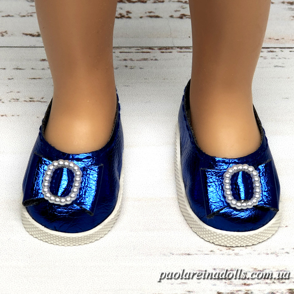 Туфли синие с бантиком для кукол Паола Рейна