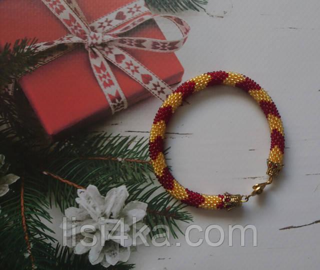 Узорный браслет-жгут из чешского бисера красно-желтого узорный