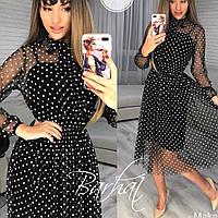 Женское стильное платье с евросеткой