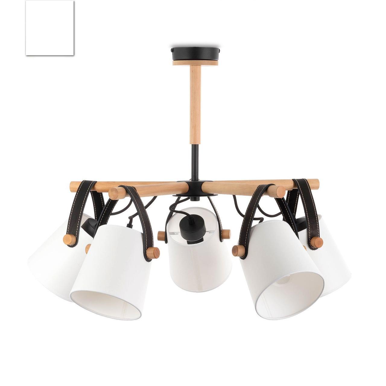 Люстра c белыми абажурами в стиле модерн, металлическая с деревом, спальня, зал, кухня,  60405-1