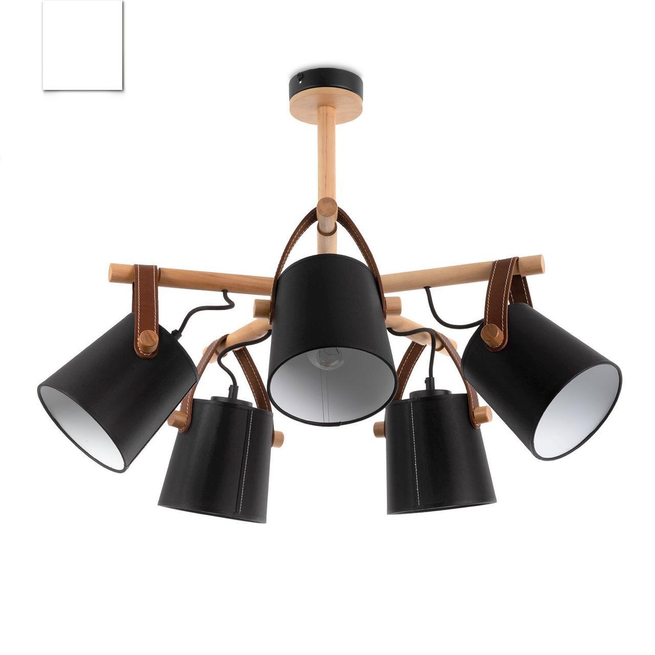Люстра c черными абажурами в стиле модерн, металлическая с деревом, спальня, зал, кухня,  60405-2