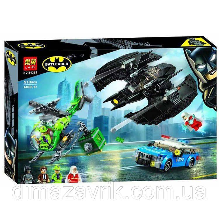 """Конструктор Bela 11352 (Аналог Lego Super Heroes 76120) """"Бэткрыло Бэтмена и ограбление Загадочника"""" 513"""