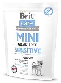 Сухой корм для собак малых пород с чувствительным пищеварением Brit Care Mini Sensitive с олениной 400 г