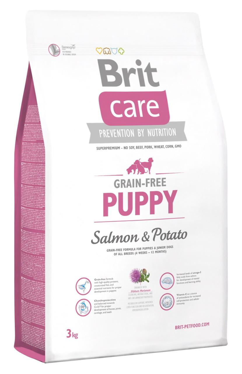 Сухий беззерновой корм для цуценят Brit Care Puppy Salmon & Potato з лососем і картоплею 3 кг