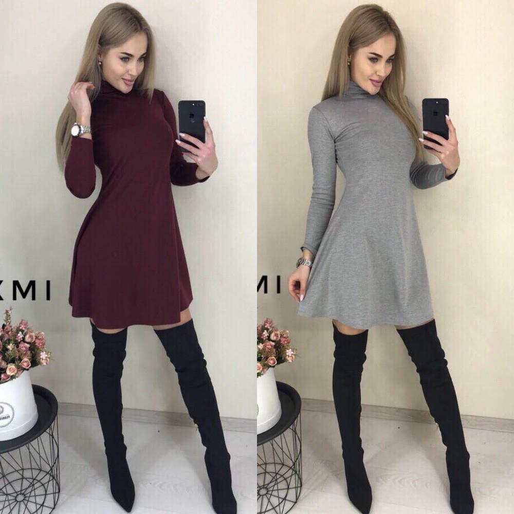Платье повседневное женское, трикотажное, длинный рукав, офисное, удобное, короткое, свободное