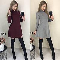Платье повседневное женское, трикотажное, длинный рукав, офисное, удобное, короткое, свободное, фото 1