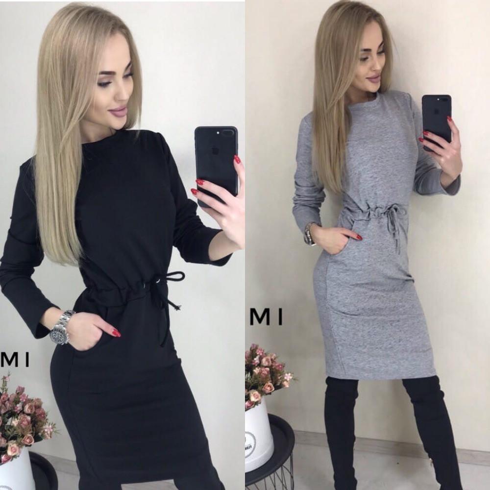 Платье женское повседневное, офисное, удобное, талия на кулиске, с карманы, модное, стильное, деловое
