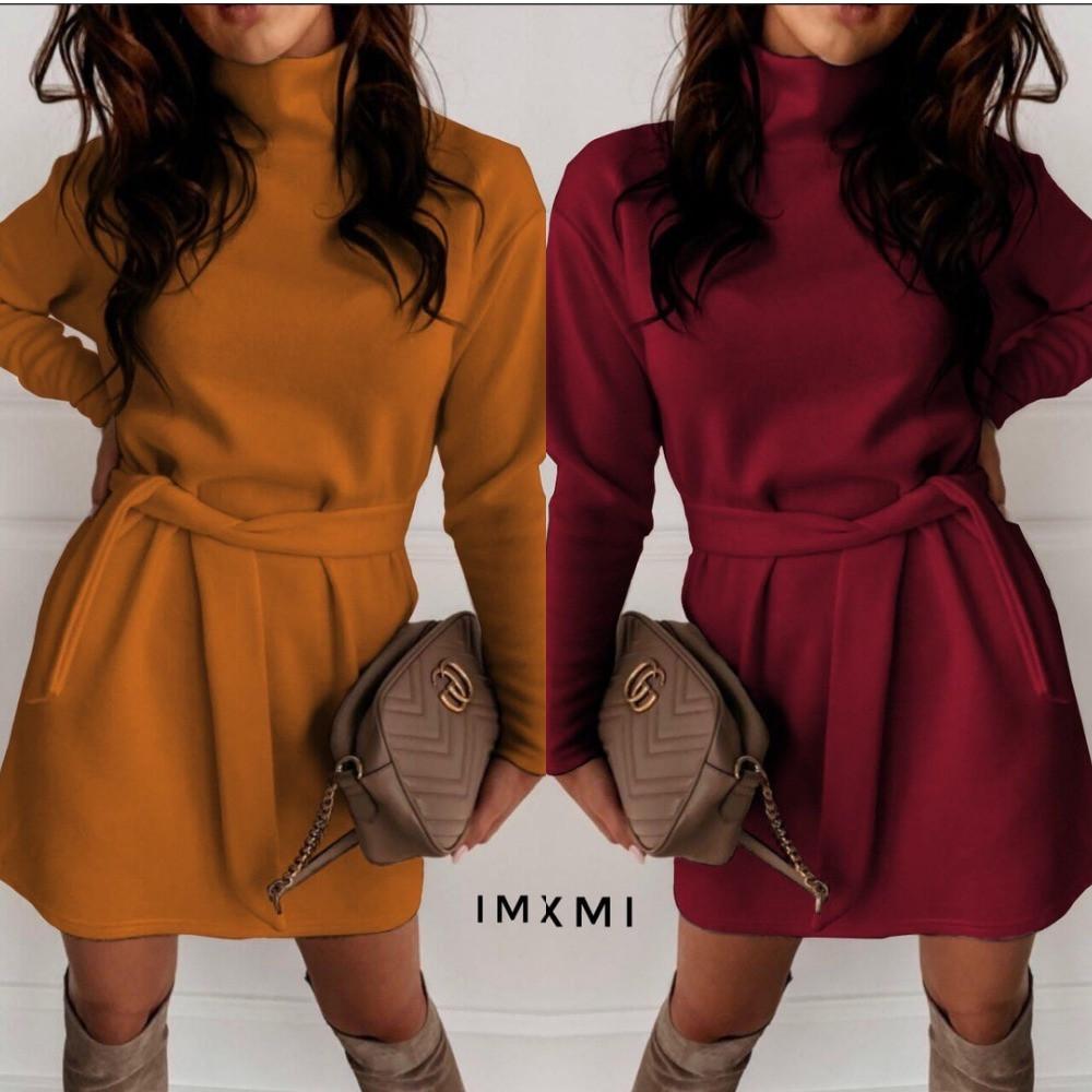 Платье женское, повседневное, утепленное,  ровное, с поясом в комплекте, короткое, модное, удобное, под горло