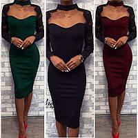 Платье женское, футляр, нарядное, повседневное, облегающее, длина миди, рукав гипюр, с декольте, фото 1