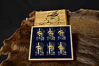 """Подарочный набор для охотника с рюмками  """"Трофейные утки"""", в деревянной коробочке"""