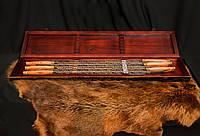 """Набор шампуров c лазерной гравировкой """"Эстет"""" (6шт, 3мм) в кейсе из дерева"""