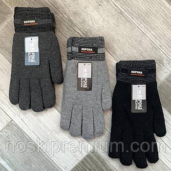 Перчатки мужские шерстяные двойные махровые Корона, длина 25 см, размер XXL, ассорти, 8102