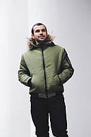 Чоловіча зимова куртка колір олива тепла, фото 1